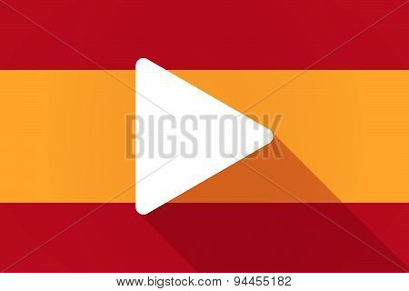 Spain  Long Shadow Flag With A Play Sign