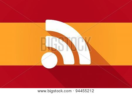 Spain Long Shadow Flag With A Rss Feed Sign