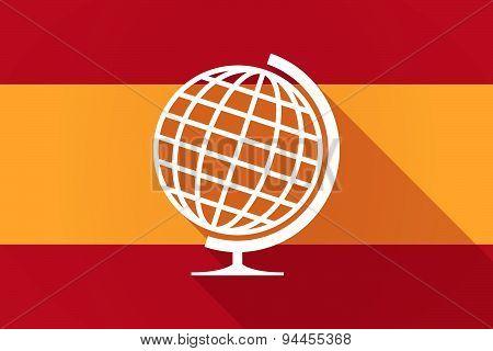 Spain Long Shadow Flag With A World Globe
