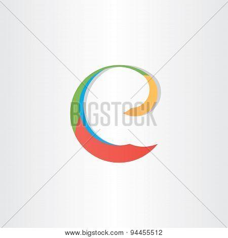 Colorful Letter E Vector Symbol