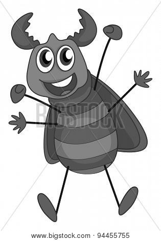 Happy beetle with wings and horn in gray