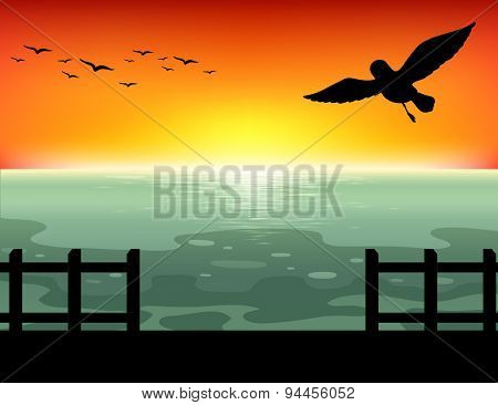 Silhouette bridge with sunset background