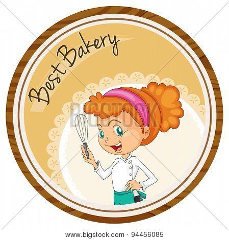 Female baker holding hand mixer on round badge