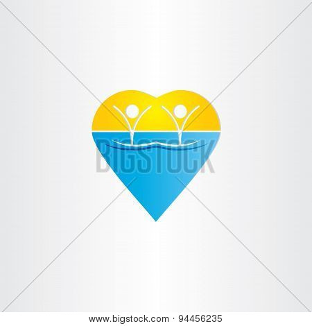 People In Water Heart Icon