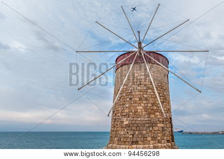 Rhodian Windmill With Plane And Cruise Ship