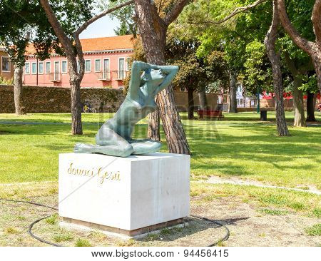 The Island Of Burano.  Monument to the wives of seafarers