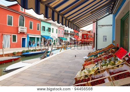 Burano. Houses On The Water.