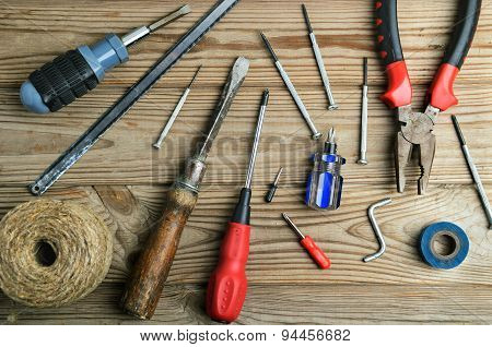 Set Of Work Tools On A Wooden Table Horizontal