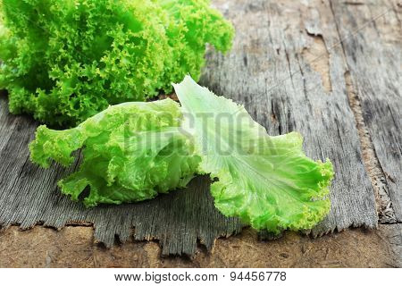Fresh lettuce on rustic wooden background