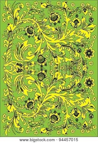 illustration with yellow and green floral decoration