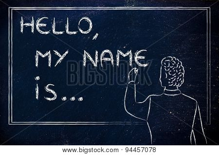 New Teacher Writing On Blakboard: Hello, My Name Is...