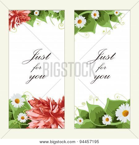 Vintage Vector Card Templates. Greeting Postcard With Floral Elements. Vector Illustration