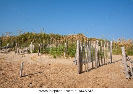 Fences On A Sand Dune In North Carolina