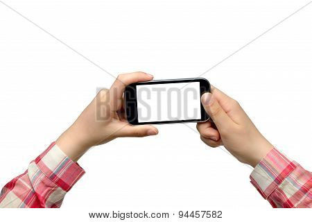 Young woman taking photo with smartphone isolated on white background