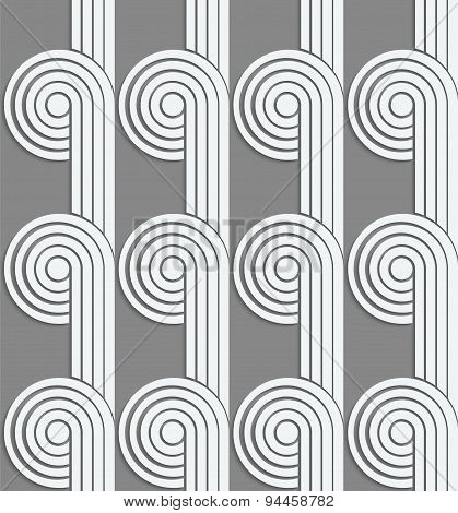 Paper Cut Out Circles With Continues Stripes On Gray