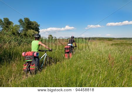 Group of cyclists on mountain bike rides through the tall grass