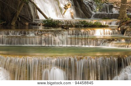 Blue stream waterfall in deep forest of Thailand