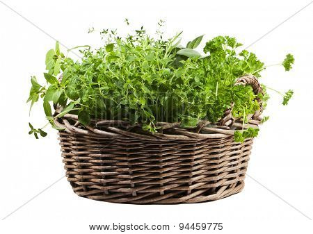 Herbs assortment in wicker basket isolated on white background