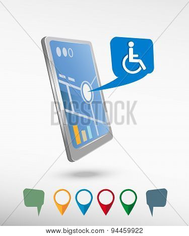 Disabled Handicap Icon And Perspective Smartphone Vector Realistic