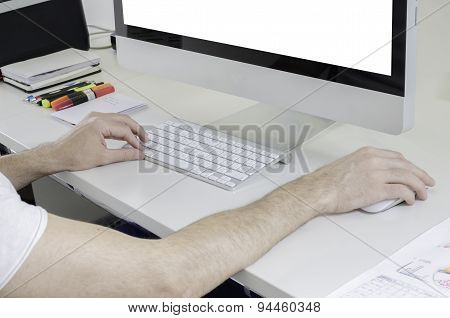 Boy Working With A Computer.