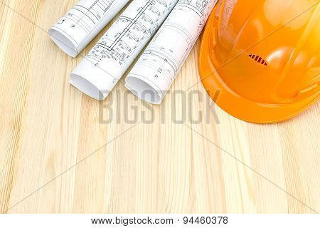 Safety Helmet And Architectural Drawings