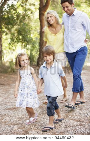 Family On Country Walk Together