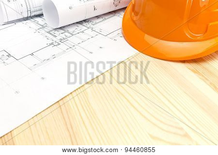 Safety Helmet With Construction Blueprints