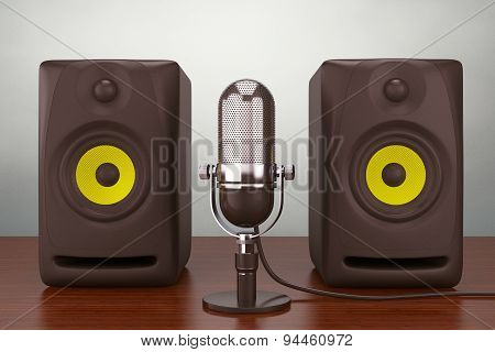 Old Style Photo. Vintage Silver Microphone And Audio Speakers
