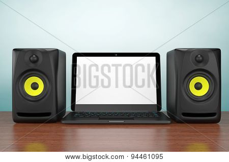 Old Style Photo. Audio Speakers With Laptop