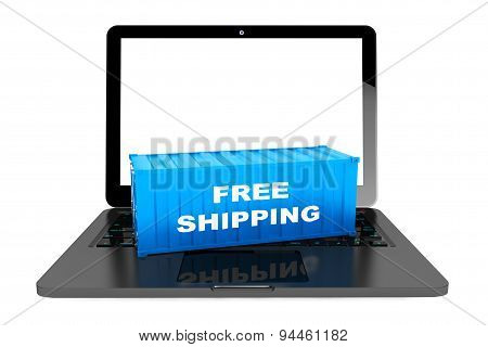 Free Shipping Container Over Laptop