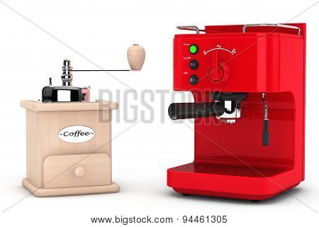 Espresso Coffee Making Machine With Wooden Coffee Mill