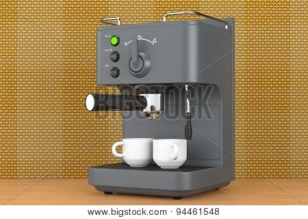 Old Style Photo. Espresso Coffee Making Machine. 3D Rendering