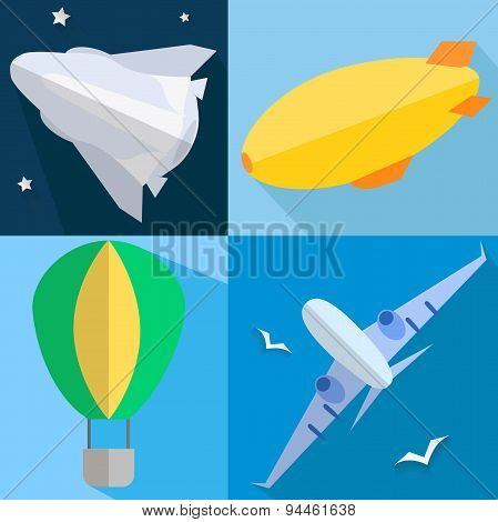 Set airplane, airship, balloon, space shuttle