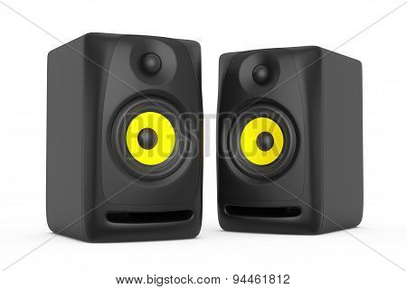 Closeup Audio Speakers. 3D Rendering
