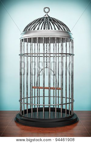 Old Style Photo. Metal Bird Cage