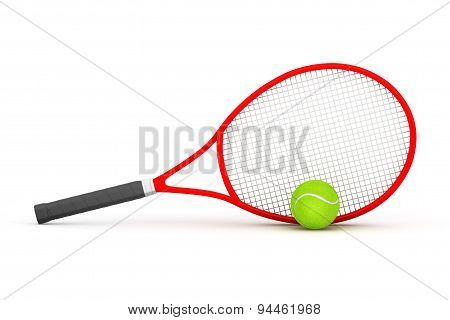 Closeup Tennis Racket With Ball