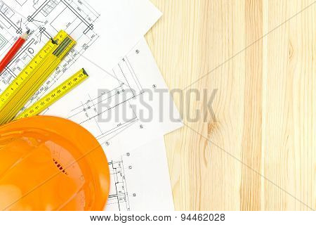 Safety Helmet With Blueprints And Ruler