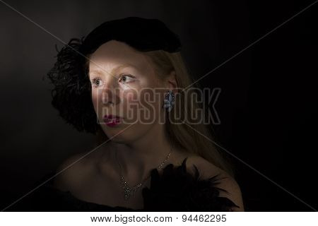 1940s Dark Film Noir Portrait of a White Caucasain Female