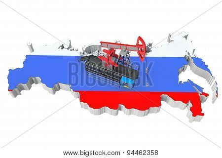 Oil Pump Over Russia Map