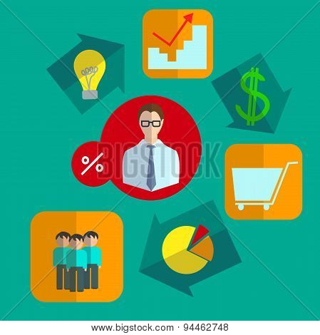 Fixated business infographics icons set