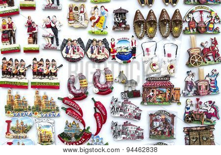 Few Rows Of Magnet Souvenirs From Bulgaria