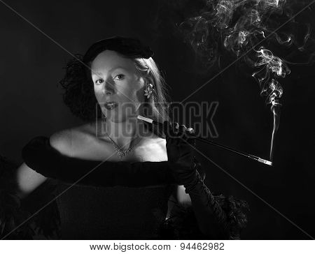 Glamorous 1940s Film Noir Woman Smoking Cigarette