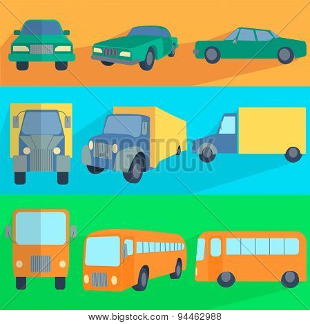 Flat set icons symbols car, truck, bus