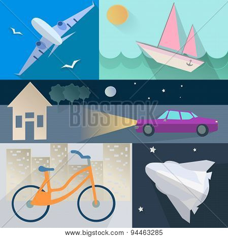 Set flet transport, plane, car, boat, home, bike, rocket, sea, trees