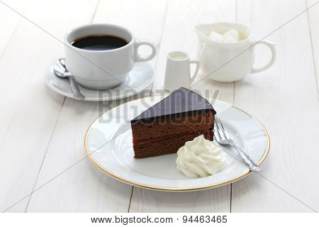 homemade sachertorte, Austrian chocolate cake and coffee