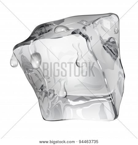 Opaque Ice Cube With Water Drops