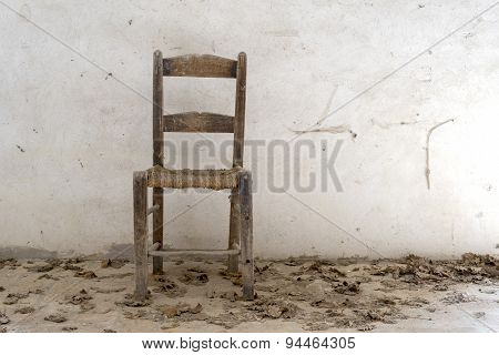old wooden chairs on white background, natural light, front view