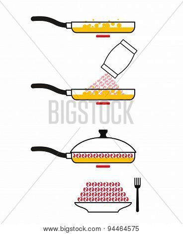 Instructions cooking fried shrimp. Pan fry seafood. Manual prescription food. Vector illustration