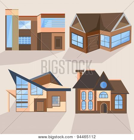 Houses, cottages, buildings, villas, architecture, building
