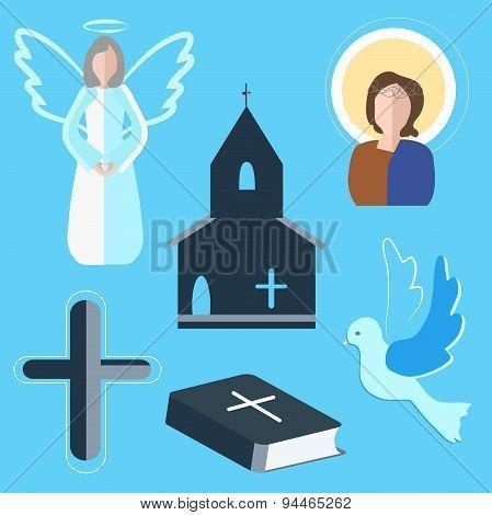 Set icons angel, cross, dove, church